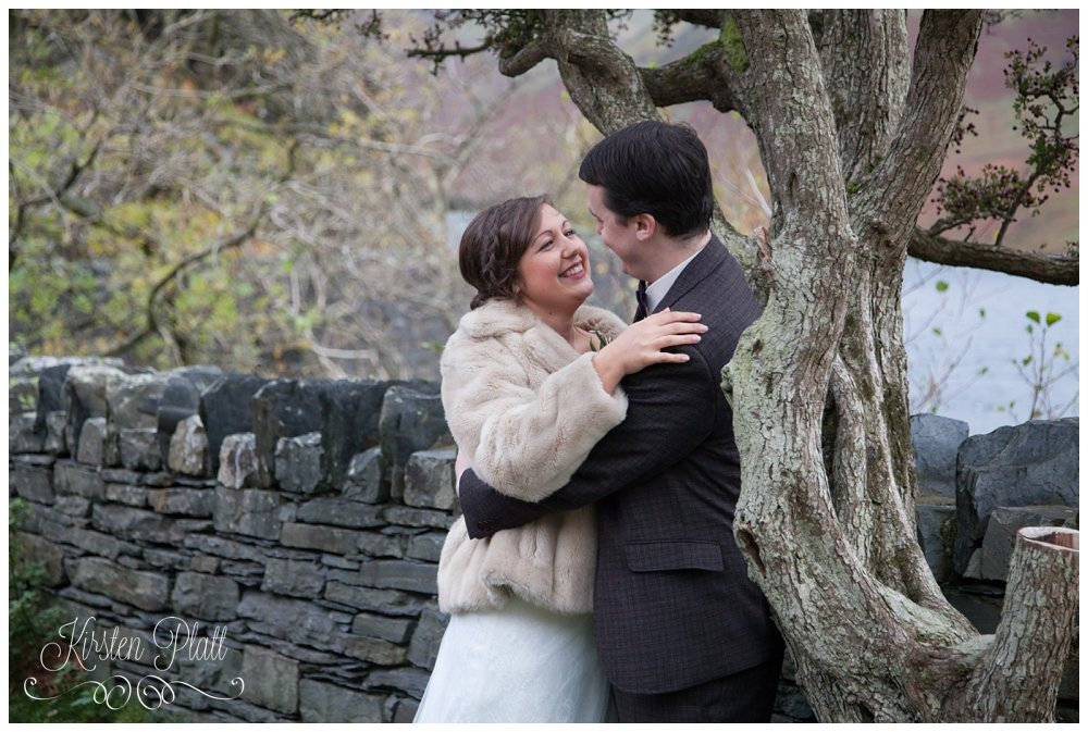 Lake district wedding bride and groom at Crummock water