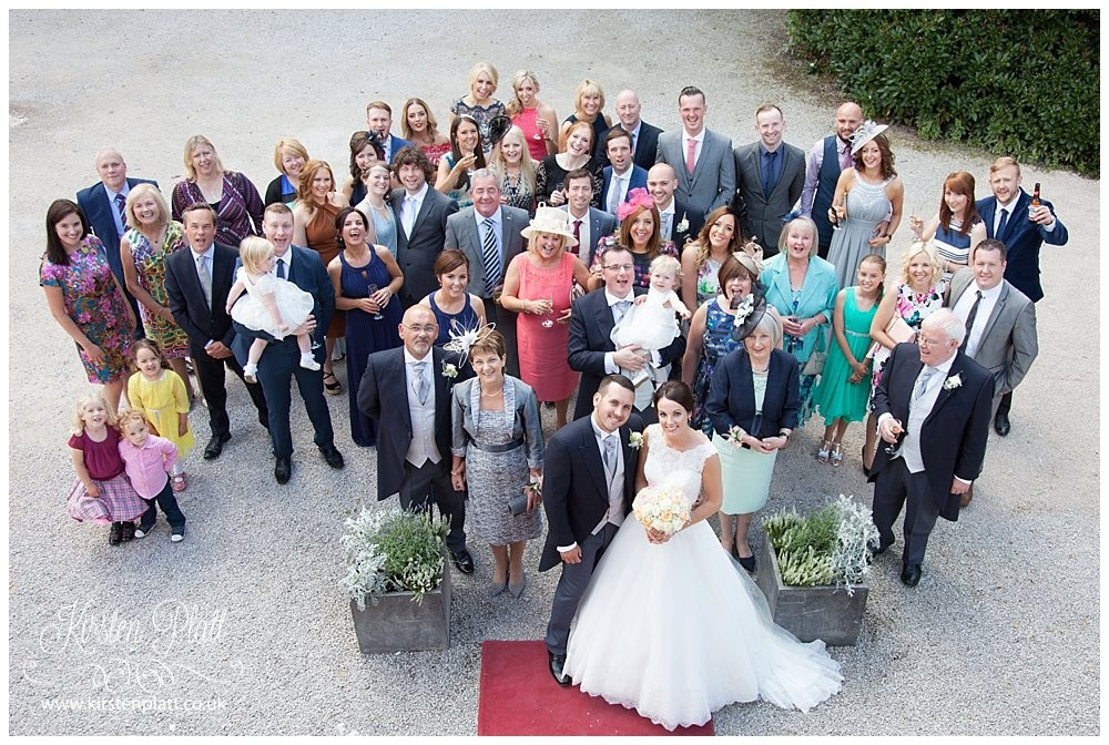 Wedding group photo from a high window at Bartle Hall