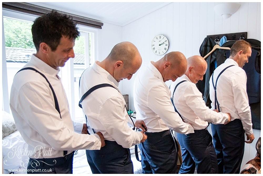 Groomsmen with navy braces