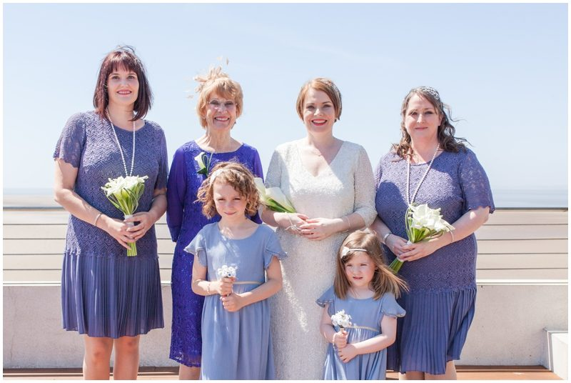 Bride with mother and bridesmaids