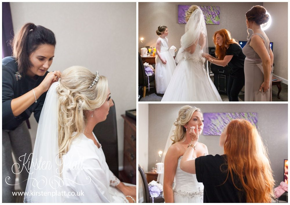 Bride with hair and makeup artists