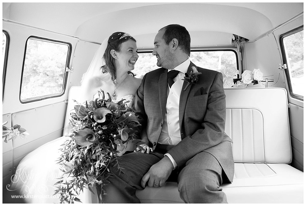 Bride and groom with camper van by Bronte wedding hire