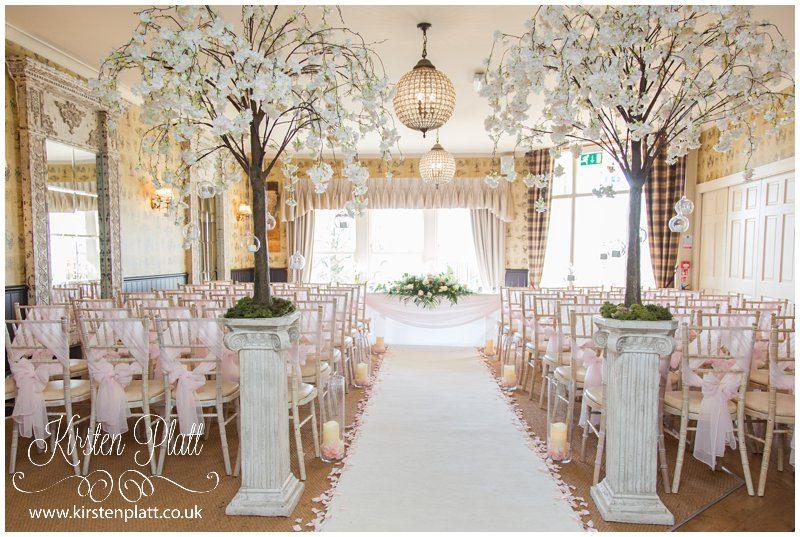 Wedding ceremony room with blossom trees
