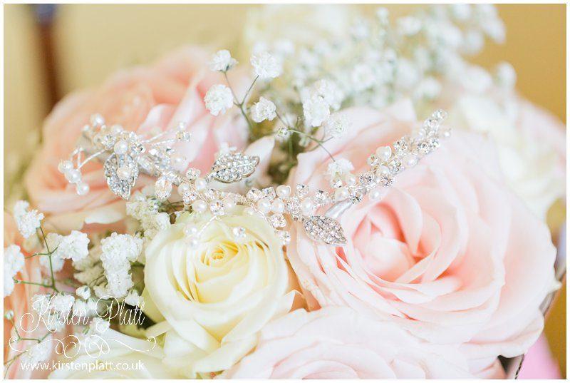 wedding bouquet and diamanté's head piece