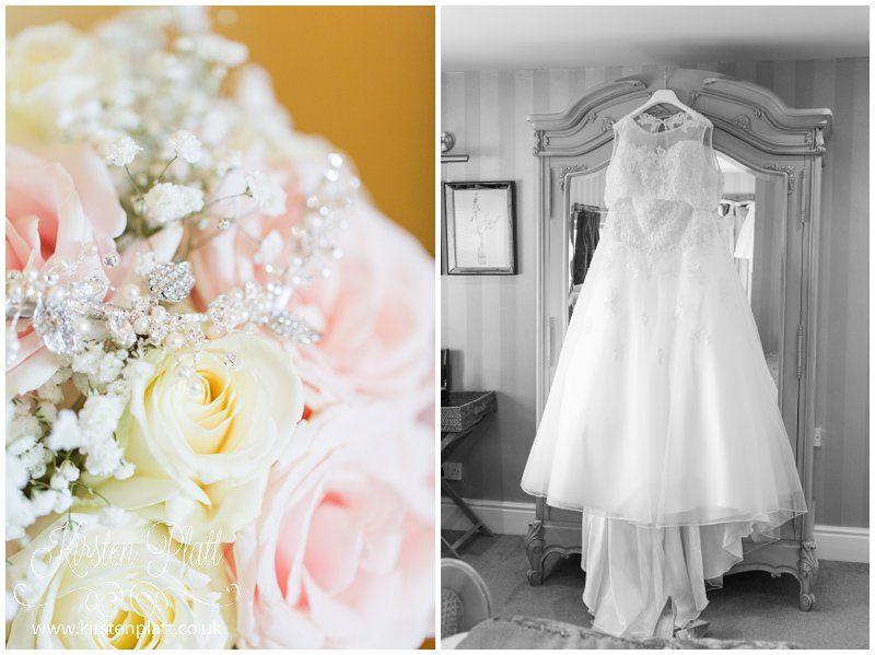 wedding bouquet and wedding dress