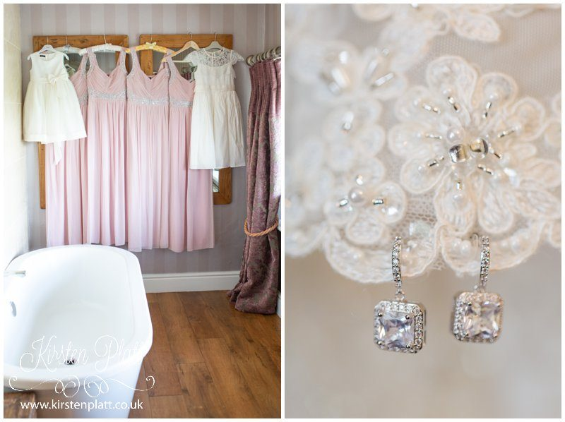 pink bridesmaid dresses and sparkly earrings