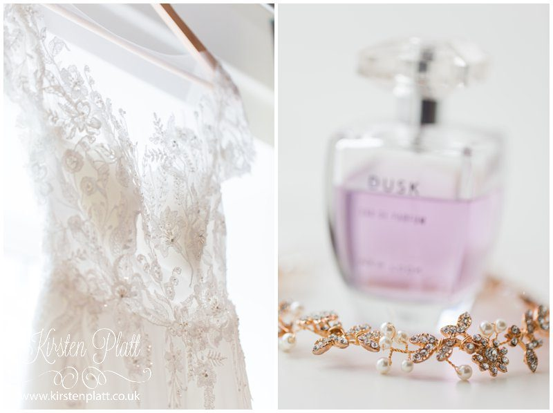 Brides dress and perfume