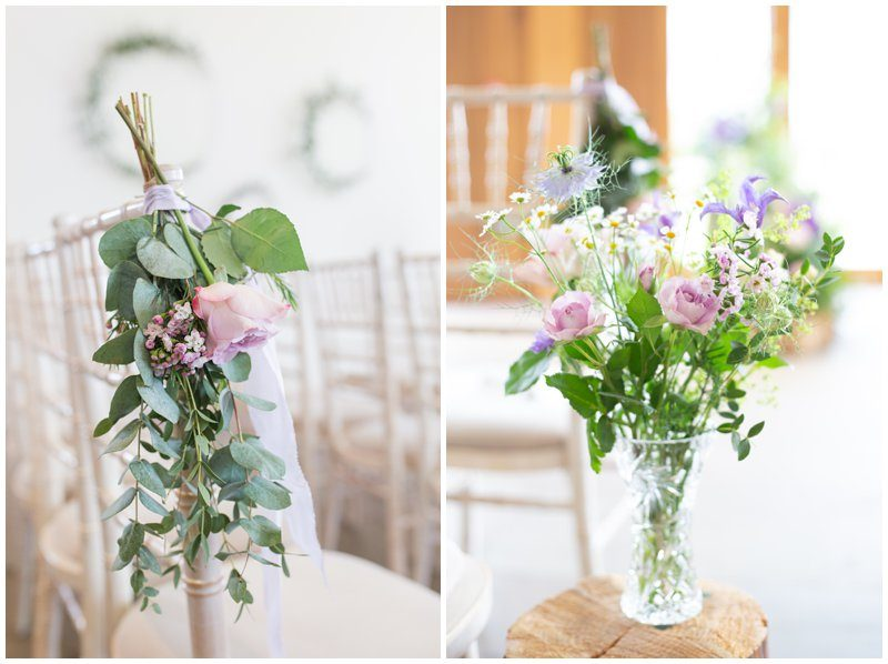 lilac roses and eucalyptus, pew ends and crystal vases