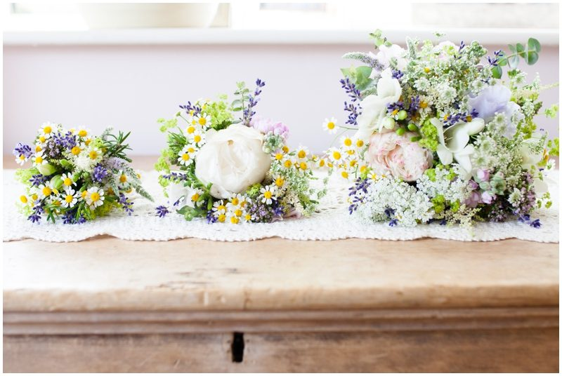 three wedding bouquets