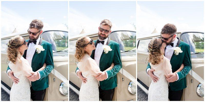 bride and groom wear sunglasses
