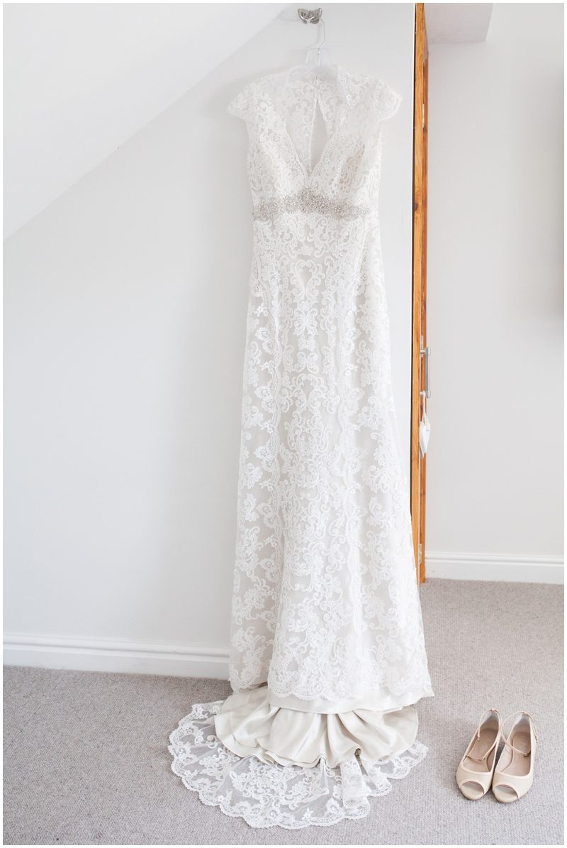 Brides wedding dress and shoes