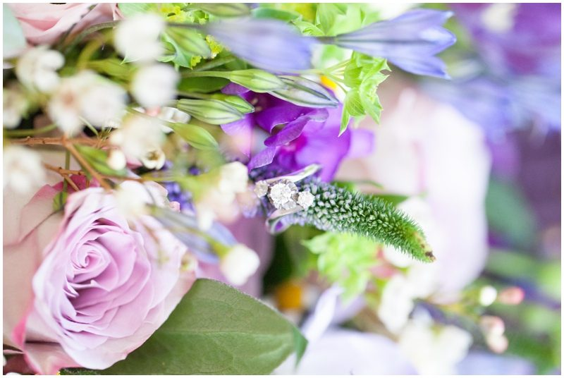 engagement ring and flowers