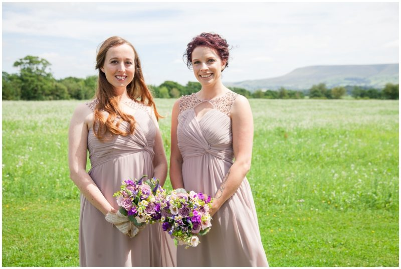 Bridesmaids with the view of Pendle Hill Lancashire