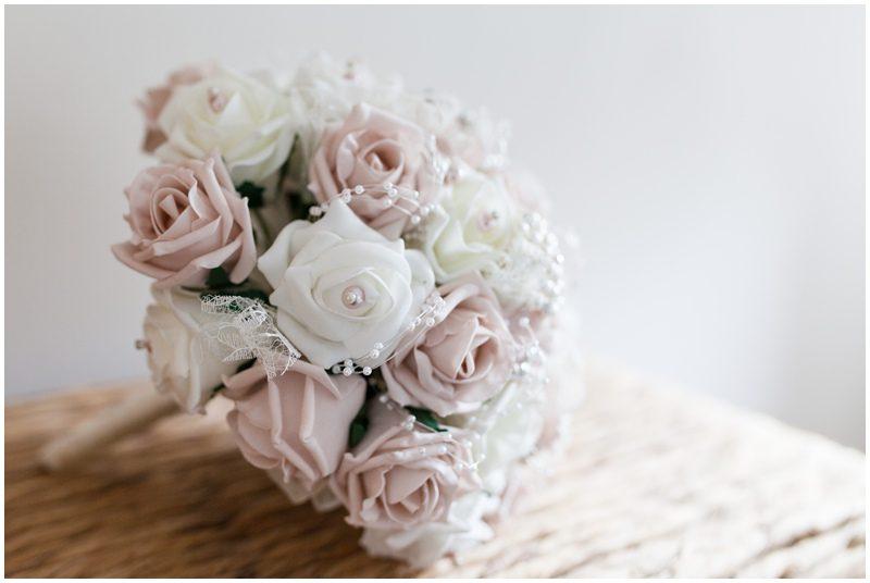 silk wedding bouquet pink and cream