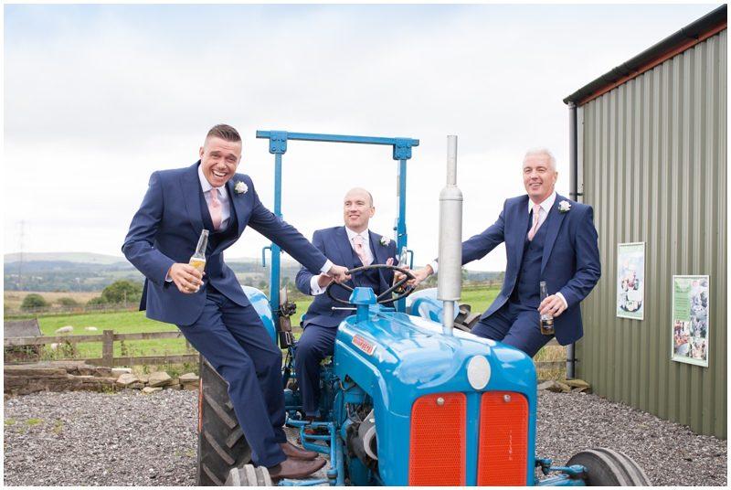 Groomsmen and tractor