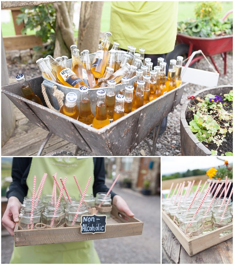 Beer bottles in a wheelbarrow